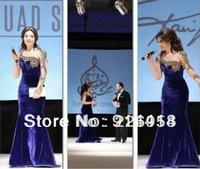 Free shipping Drop shipping Celebrity dress Myriam fares Long sleeve Bead Velvet Floor length Custome