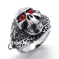 RA120944 free shipping Men's Skeleton  Skull RED EYES Stainless Steel Ring U.S. Size 7 8 9 10 11 12 13 14