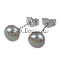 Free shipping!!!Freshwater Pearl Earrings,Jewellery, Cultured Freshwater Pearl, Round, purple, 6-7mm, 10Pairs/Bag, Sold By Bag