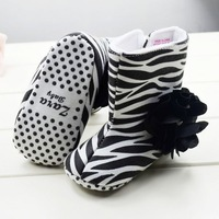 TOP QUALITY! 10pairs/lot New 2013 Free Post Zebra-Stripe Baby Shoes Kids Hook & Loop Comfortable Boots For Newborn Girls&Boys