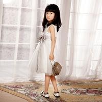White jumpsuit puff dress female child princess dress child dance flower girl formal dress b007