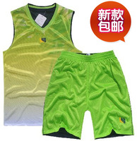 Set basketball clothes set male double faced mesh basketball clothing jersey set