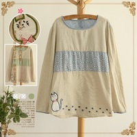 Cute applique small cat patchwork stripe long-sleeve T-shirt 2013 autumn 10727