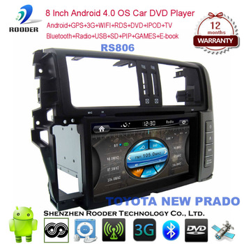 8 inch 2 din android 4 car dvd player with bluetooth,usb,mp3,ipod,wifi,3G,gps navigator,optional tv,can bus for TOYOTA NEW PRADO
