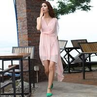 Krazy fresh solid color irregular skirt beach dress chiffon dress elegant full 588
