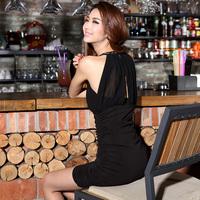 Krazy fashion handmade chain perspectivity cutout chiffon high waist slim sexy halter-neck dress 764
