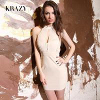 2013krazy sexy chiffon patchwork sexy low-cut halter-neck slim vintage slim skirt 718