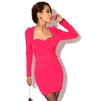 Krazy fashion low-cut sexy slim tight fitting long-sleeve slim hip 265 one-piece dress