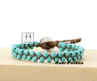 Handmade Turquoise Wax Cord Wrap Bracelet Turquoise Bracelet Beads Bracelet New Arrival Product 2013