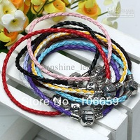 Vintage 100pcs Mix Colors 925 Silver Braided Leather Bracelet Fit European Beads Bracelets Hot