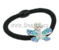 Free shipping!!!Ponytail Holder,Jewelry Fashion, Zinc Alloy, with rhinestone, 24x21x11mm, Length:6 Inch, 24PCs/Box, Sold By Box