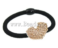 Free shipping!!!Ponytail Holder,new arrival, Zinc Alloy, Heart, with rhinestone, 17x24x9.50mm, Length:6 Inch, 24PCs/Box
