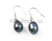 Free shipping!!!Freshwater Pearl Earrings,2013 Womens, Cultured Freshwater Pearl, dark blue, 9-10mm, 28-30mm, 10Pairs/Bag
