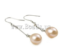 Free shipping!!!Freshwater Pearl Earrings,2013 fashion women, Cultured Freshwater Pearl, pink, 9-10mm, 44mm, 10Pairs/Bag