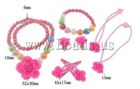 Free shipping!!!Jewelry Sets,ethnic, Glass, bracelet & earring & necklace, with Resin, Flower, 6mm, 10mm, 32x30x13.5mm,15x15mm