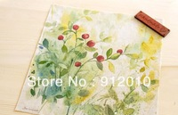 10PC 20*20cm Green leaves red fruitsHand Painting Dyeing Natural Cotton Linen Canvas Handmade DIY Patchwork Fabric Mix Order