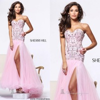 Sweetheart Strapless Beaded Crystal Backless Floor Length Elegant Evening Gown Sexy Organza Prom Dresses New Fashion 2013
