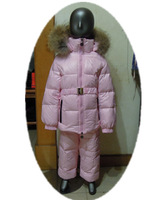 2011 winter children's clothing child down coat set female child pink set
