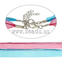 Free shipping!!!Fashion Necklace Cord,2013 new fashion girl, Wax Cord, with Ribbon, zinc alloy lobster clasp
