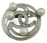Free shipping!!!Freshwater Pearl Brooch,Bling, Cultured Freshwater Pearl, with Brass, Coin, white, 43x49x17mm, Sold By PC
