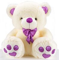 Quality elegant bow tie plush toy bear purple doll birthday gift