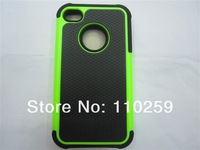 New Fashion 3 in 1 Hybrid Rugged Rubber Gel Combo case For iphone 4G 4S Free shipping (100 pieces/lot)