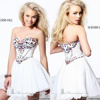 Fast Shipping Sweetheart Colorful Crystal White Organza Mini Cocktail and Party Dresses Short New Fashion 2013