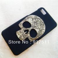 Black Matte Cell Phone cases with bronze silver skull hard Cover housing for Blackberry z10