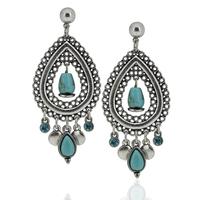 2014 New Arrival Women Accessories Bohemian Style Turquiose Stone Long Tassels Statement Dangling Earrings Jewelry