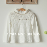 2013 fall new arrival Girl lace Sweet rose pearl long sleeve T-shirt  Crochet fashion sweet wholesale freeshipping 5pcs/lot