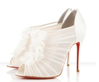 2014 New arrival white fish mouth pleated sexy lace with flower summer stiletto women red bottom sandasl