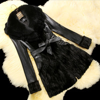 Fur coat mink fur overcoat medium-long fox rex rabbit fight mink fur collar x1007