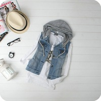 Cap all-match pocket denim sleeveless vest 2083