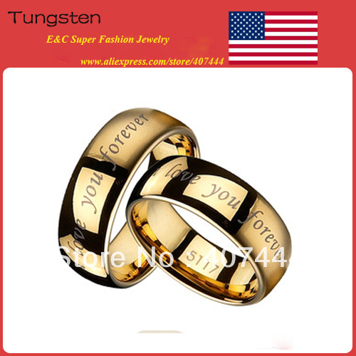 "Free Shipping!USA Hot Sales E&C Jewelry 8MM 18K GPTungsten Wedding Ring ""I love you forever"" Men's & Women's Bridal Jewelry 2PCS(China (Mainland))"