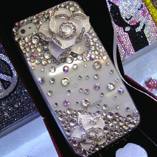 For iphone  4 4s phone case shell rhinestone mobile phone case camellia