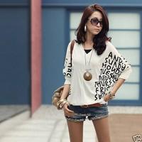 New Brand 2015 Letter Printed Women T-shirts/Bat Sleeve Summer T-shirts Women/Casual Cotton Tops Women Clothing
