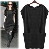 2014 autumn women's plus size slim all-match long design knitted one-piece dress sweater basic shirt13080802