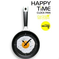 Free shipping 2013 new creative wall clock fried eggs pan shaped clock 35.5*18.5*4 cm 500g 6 colors home decoration clocks Y101