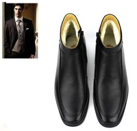 Promotion winter men's genuine leather keep warm natural wool shoes,snow boots,special offer,ABC158