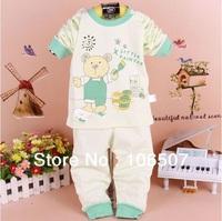 2pcs pet set 100% cotton  long 0-3 years old Children spring Autumn winter Baby Warm sets Underwear Kids Sleepwear hot BSL02