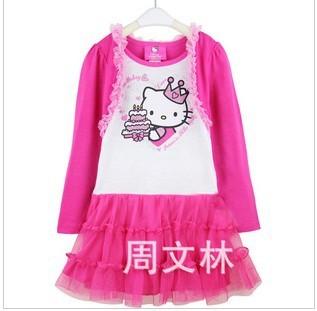 5pcs/lot hello kitty dress  flower girl's tutu dresses children's sundress princess ball gown children's clothes