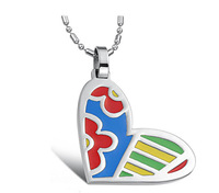 Wholesale\Retail! Romantic 316L Stainless Steel Colorful Lovely Heart Pendant Neklace For Girl, Lowest Price Best Qualityorf