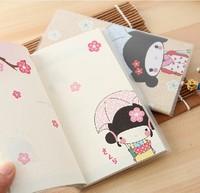 free shipping Korea stationery cartoon aesthetic fresh notepad kimono girl color page diary