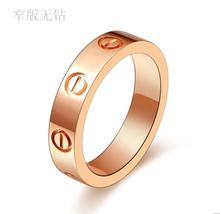 Rose gold male ring love series Women screws fashion diamond finger ring