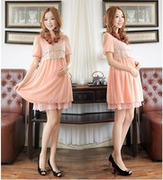 Free shipping 2013 new summer fashion short sleeve lace dress pregnant women pregnant women dress chiffon blouse