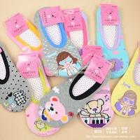 5pc/lot Summer floor socks adult women's 100% cotton sock slippers glue slip-resistant cartoon big boy 100% cotton home socks