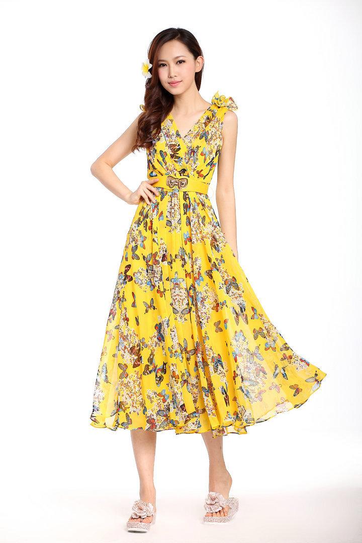 Flower girls dresses yellow 2017