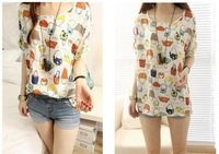 Summer Sale Chiffon Girls T-shirts Casual Batwing Sleeve O-Neck Tops for Women Designer Print Loose Clothing Ladies
