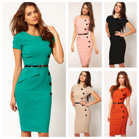 New Fashion Women Ladies Slim Pencil OL Dress Knee-length Bodycon Party Dress plus size (without belt)