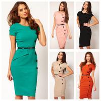 [Unbeatable At $X.99] New Fashion Women Ladies Slim Pencil OL Dress Knee-length Bodycon Party Dress plus size (without belt)